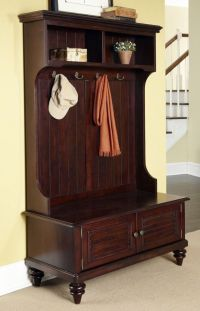 Hall Tree Storage Bench Entryway Coat Rack Stand Antique ...