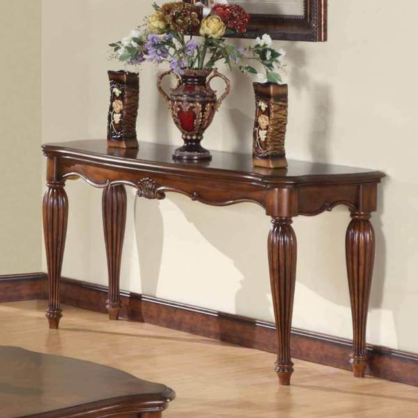 Dreena Occasional Living Room Entry Console Sofa Table Carved Wood In Cherry