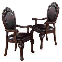 2 PC Formal Dining Arm Chair Decor Foot Upholstered Faux ...