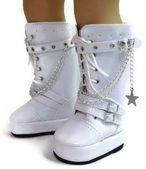 """White Boots With Chains Shoes 18"""" American"""