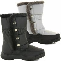 WOMENS LADIES WARM QUILTED FUR LINED FLAT KNEE HIGH WINTER ...
