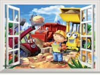 Bob the builder bulldozer 3D Window Scene Wall Decals Kids ...