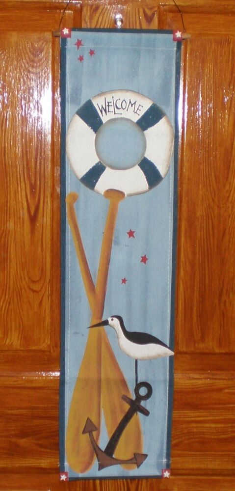 WELCOME Nautical Sign Lifering Anchor Oars Beach Seaside