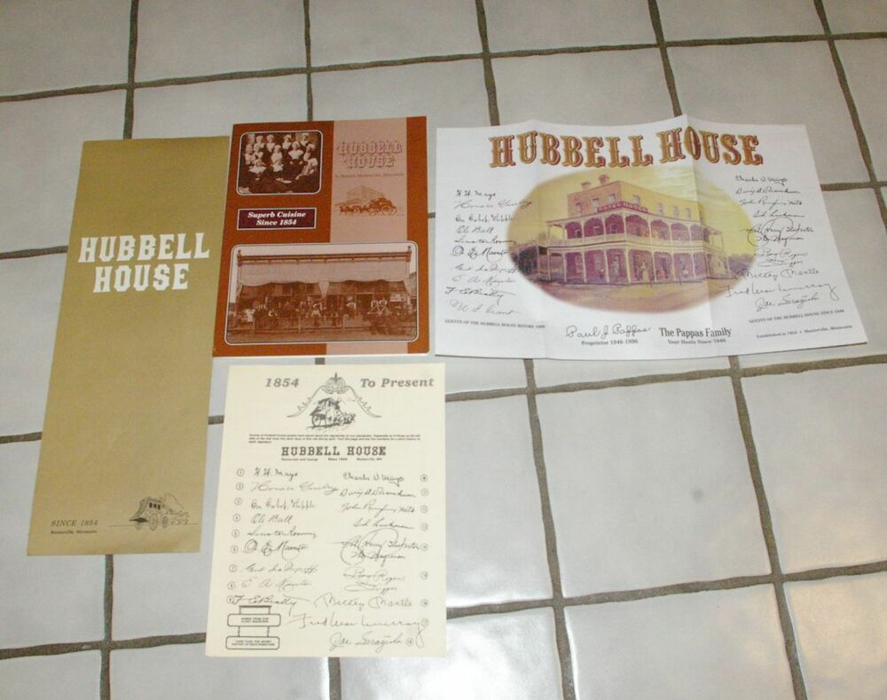 Grouping Hubbell House Restaurant Menus Placemat Etc