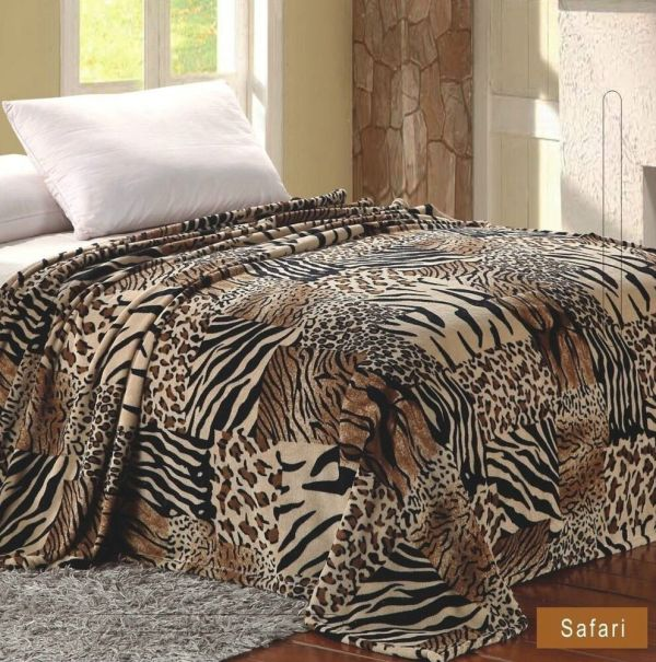 Safari Animal Print Blanket Feel Warm Soft Full Throw Bedding Fleece Comfy