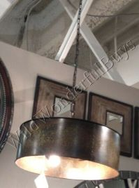 Copper Gold Drum Chandelier Metal Pendant Light Rustic
