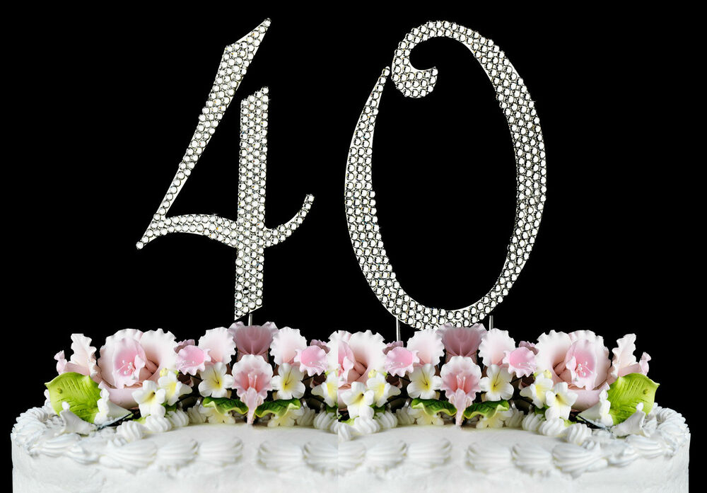 NEW Large Rhinestone NUMBER 40 Cake Topper 40th Birthday