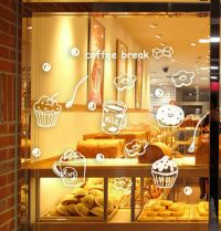 Coffee Cafe Shop Window Stickers Business Vinyl Sign Wall ...