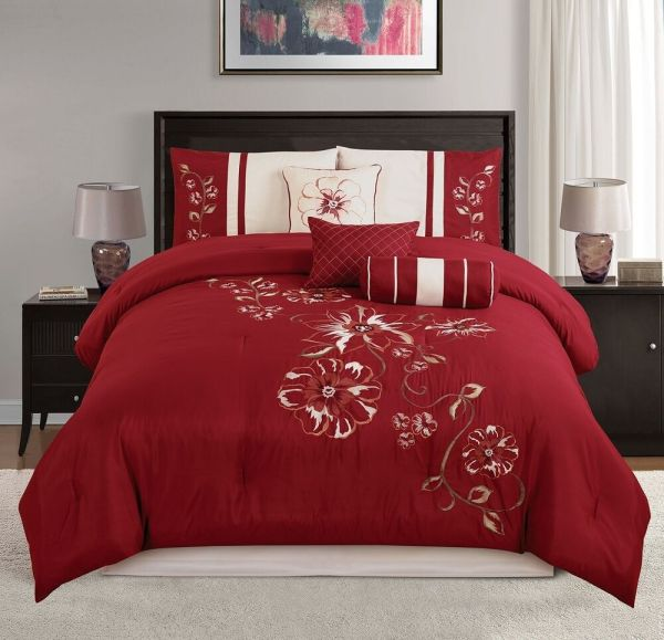 7-piece Red Beige Embroidery Floral Hibiscus Soft