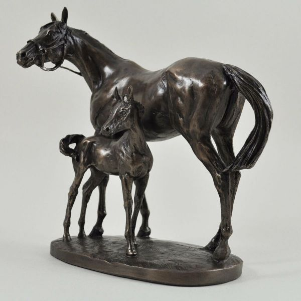 Bronze Mare And Foal Horse Sculpture Statue Large
