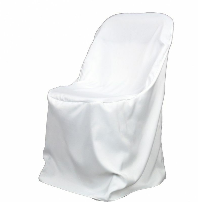 100 White Polyester Folding Chair Covers~NEW~ Wedding~