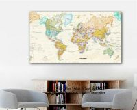 World Map Stretched Canvas Prints Framed Wall Art Home ...
