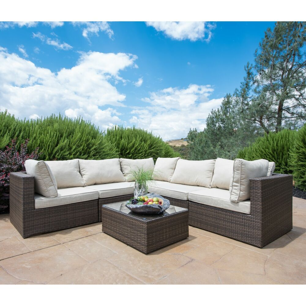 SUPERNOVA Outdoor Patio 6PC Sectional Furniture Wicker