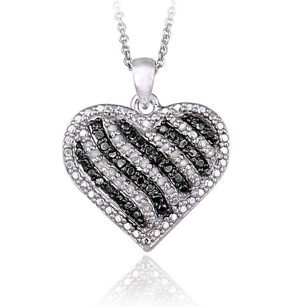 0.50ct Tdw Treated Black Blue & White Diamond Striped Heart Necklace In Brass