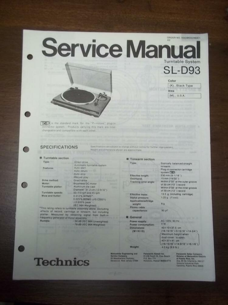 Technics Service Manual for the SL-D93 Turntable~Repair