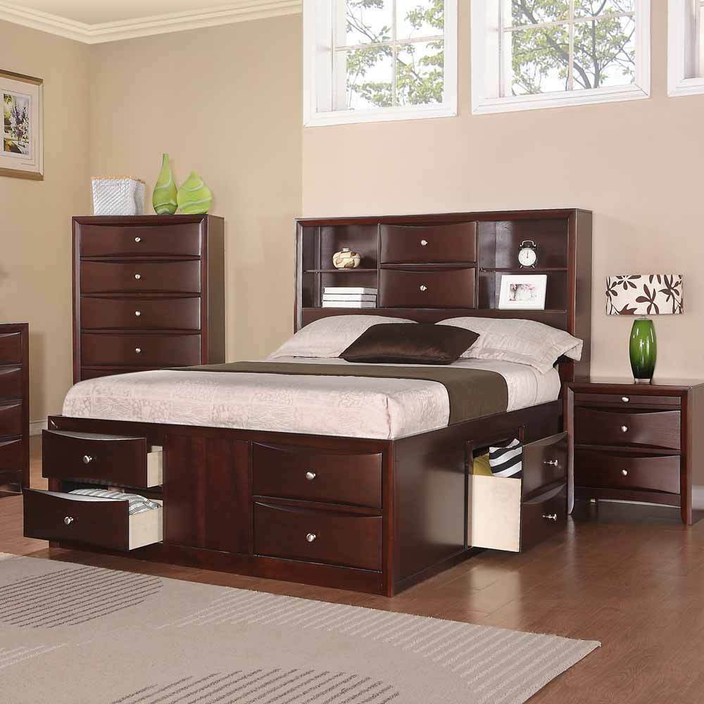 Elegant Bedroom Queen Bed w MultiDrawers Storage