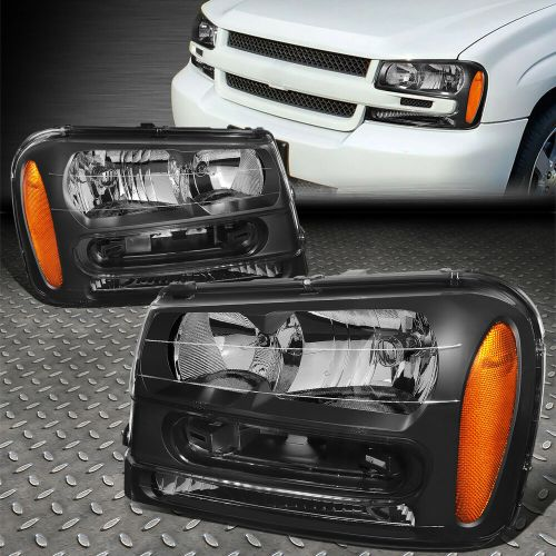 small resolution of details about for 2002 2009 chevy trailblazer black housing amber corner headlight lamp set