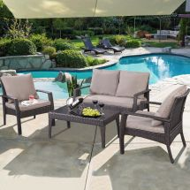 Steel Frame Outdoor Patio Rattan Furniture Set Garden