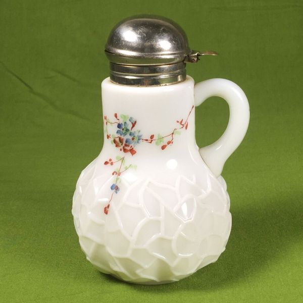 Vintage Hand Painted Milk Glass Syrup Pitcher Dithridge