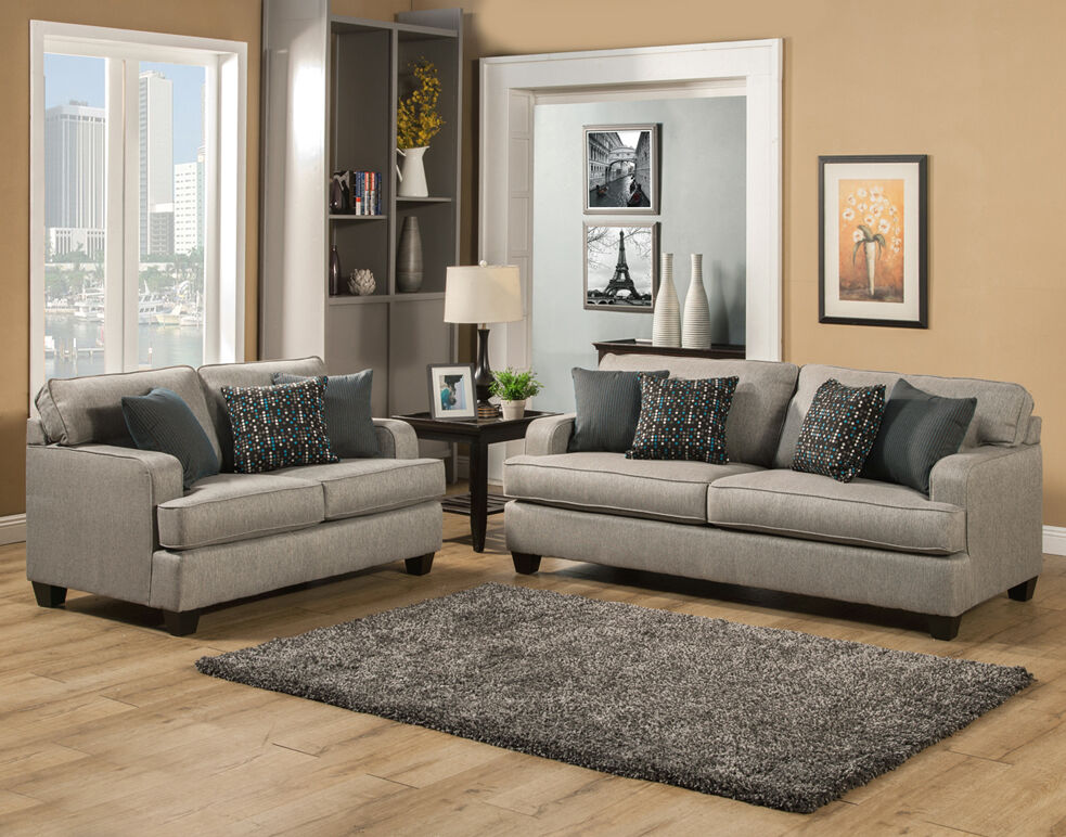 Beautiful Elegant Modern Comfortable Grey Gray Fabric Sofa