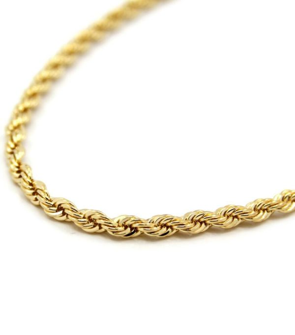 Mens 14k Yellow Gold Plated 5mm Rope Chain Necklace 24