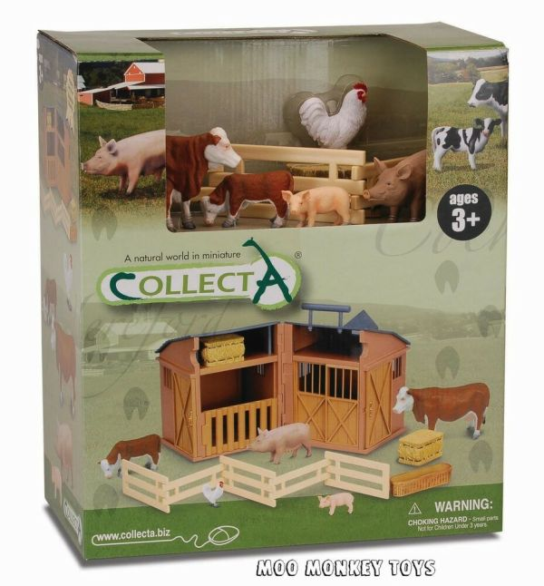 Barn Playset Stable Collecta 89331 With Farm Animals Works