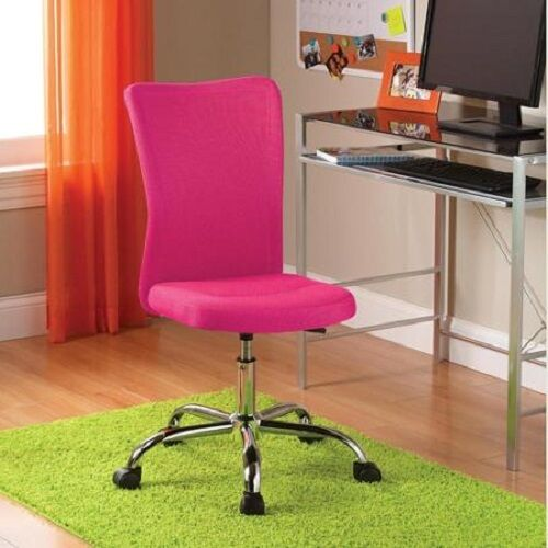 Fabric Task Swivel Pink Chair Casters Adjustable Height