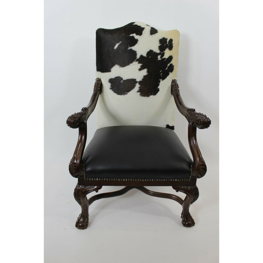 Executive Cowhide Chippendale Chair Black And White  eBay