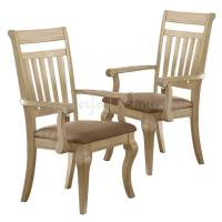 Set of 2 Formal Dining Arm Chairs Medium Wood Trimmed