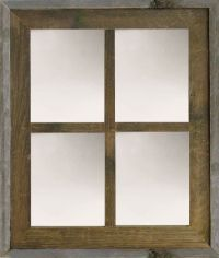 Rustic Narrow Frame Western Style Barn Wood Window Mirror ...