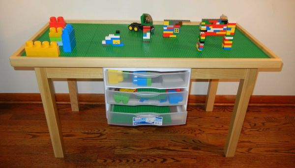 Lego Natural Play Table With 3 Storage Drawers Solid Wood Removable Baseplates