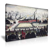 L.S. Lowry Football Match Canvas Wall Art Picture Print ...