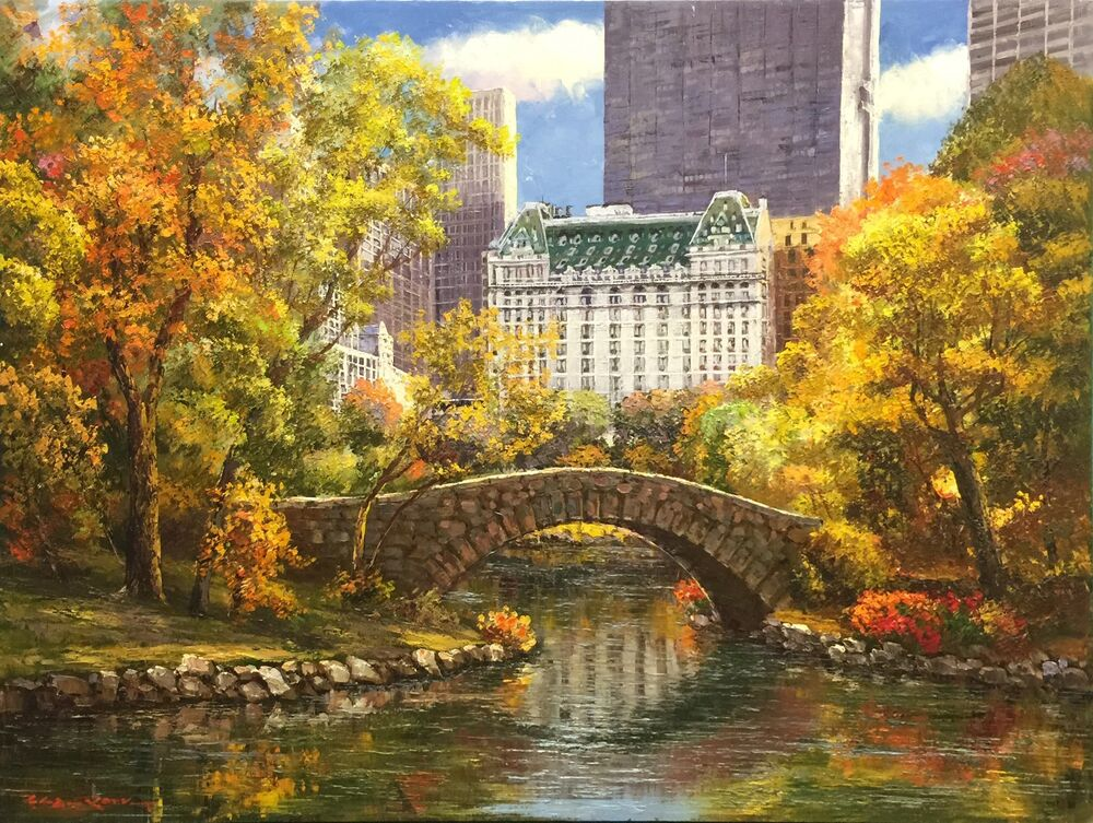 Fall Paintings Wallpaper Sam Park Quot Autumn At Central Park Quot Signed Original Oil