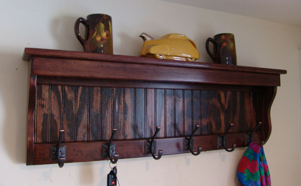 Custom 48quot Handcrafted Wood Coat Rack 8 Hooks Wall Shelf