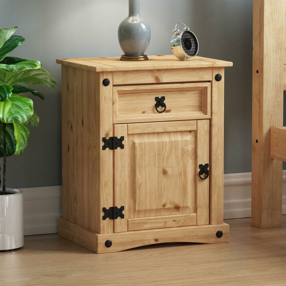 Corona Bedside Cabinet 1 Drawer 1 Door Solid Mexican Pine