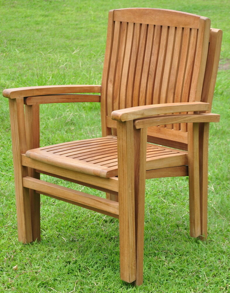 Qty 2  Wave AGrade Teak Wood Dining Stacking Arm Chair
