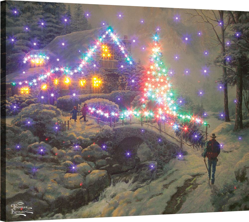 Bringing Home The Tree Fiber Optic Canvas Wall Hanging W