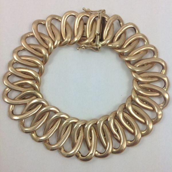 Wide Italian 14k Yellow Gold Bracelet 7.75