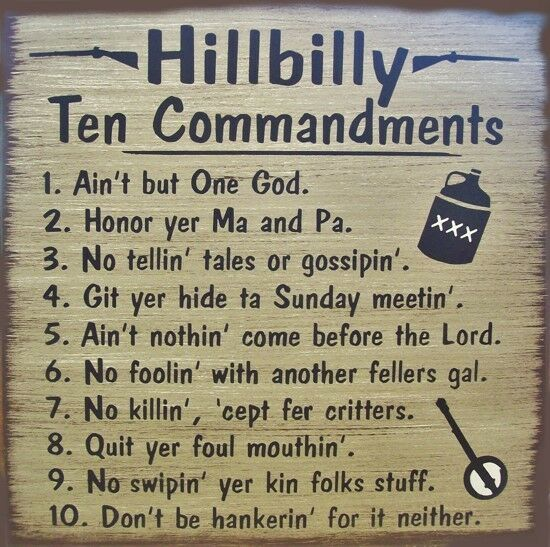 Hillbilly 10 Commandments Primitive Country Wood Sign Home