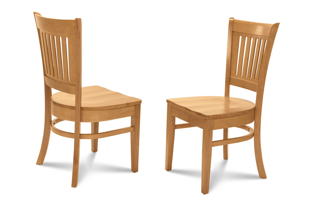SET OF 6 KITCHEN DINING CHAIRS WITH WOODEN SEAT IN OAK