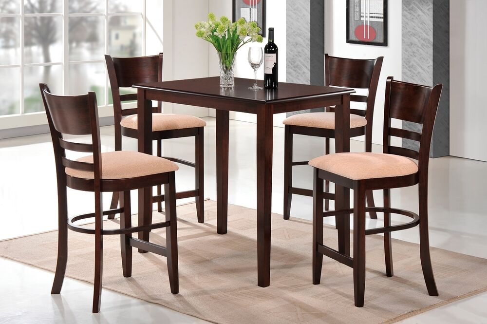 Counter Height Wood Kitchen Dining Set Table  Stools