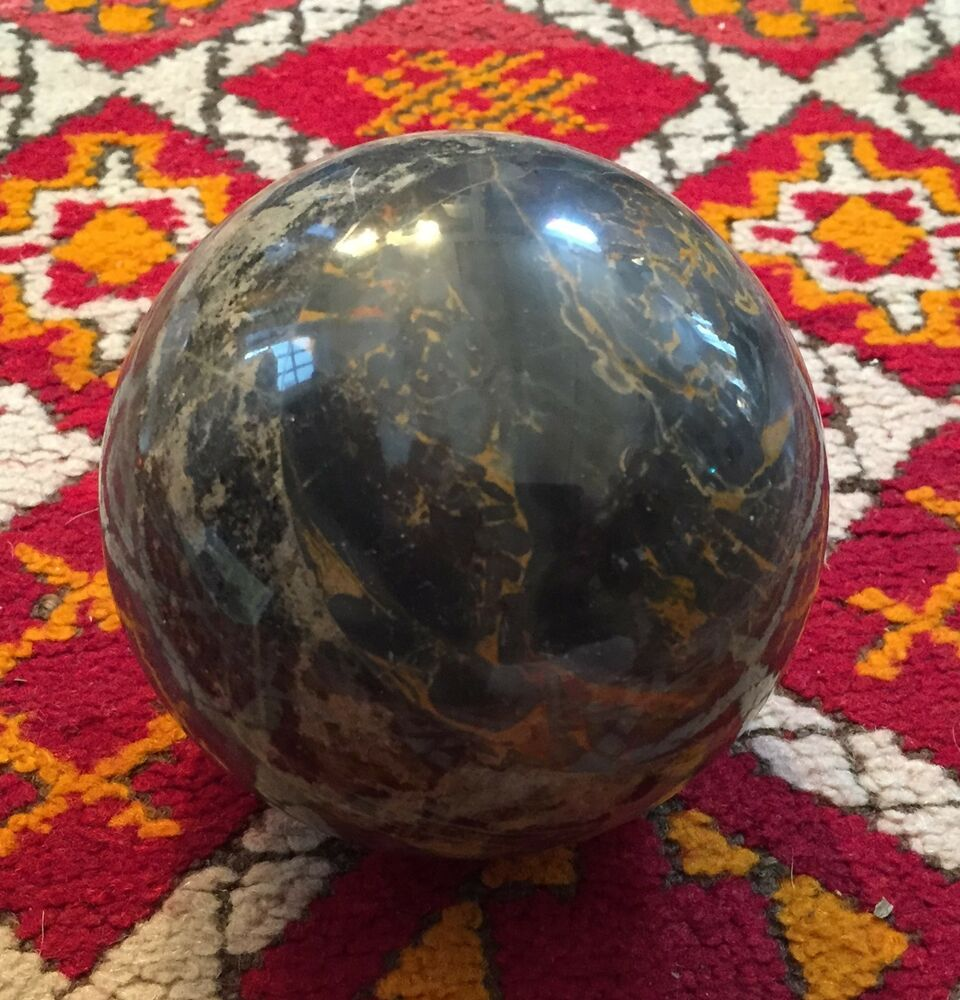 Vintage Polished Marble Stone Sphere Carpet Ball Gray and