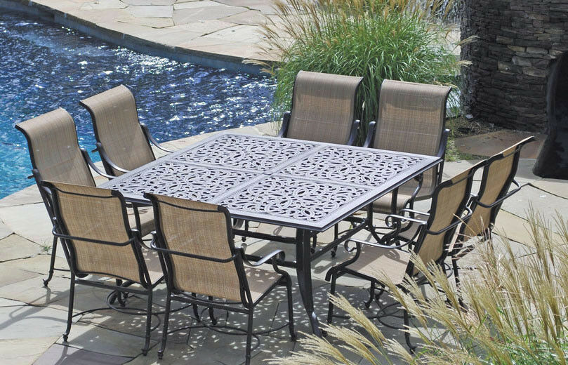 Patio Furniture Outdoor Dining Set Sling Trinity 9 Pc Cast