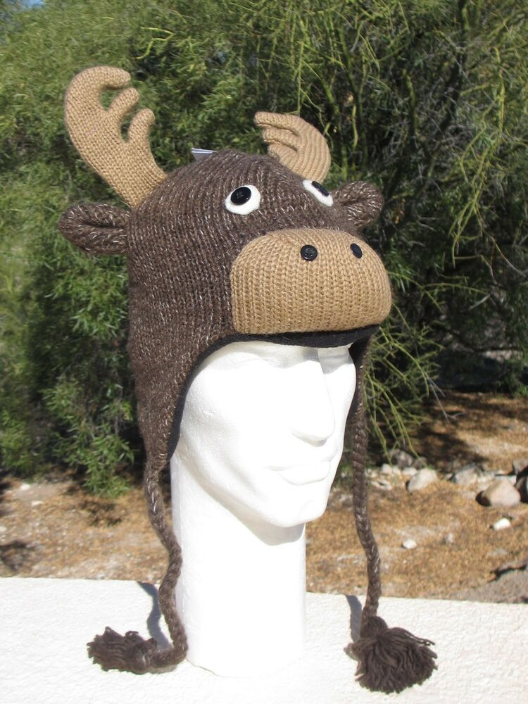 MOOSE HAT Antlers Knit Christmas REINDEER Decoy Animal Ski