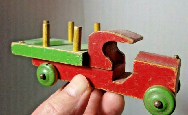 Antique Wood Toy 5 Truck Ebay