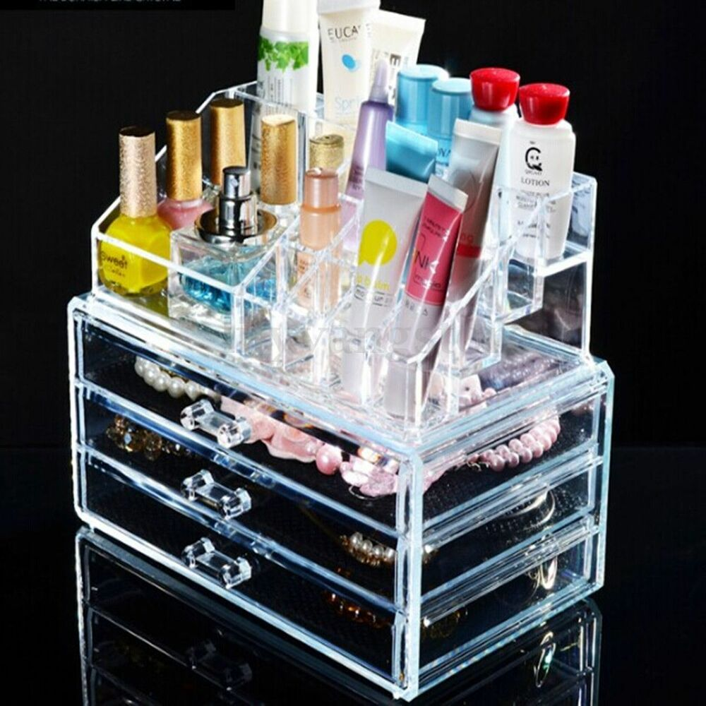 Clear Acrylic Makeup Case Cosmetic Organizer Holder