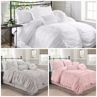 Chezmoi Collection 7-Piece Shabby Chic Ruched Ruffle ...