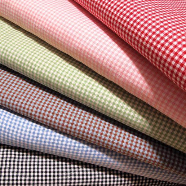 """Gingham 1 8 Checkered Poly Cotton Fabric Prints - 60"""" Wide"""
