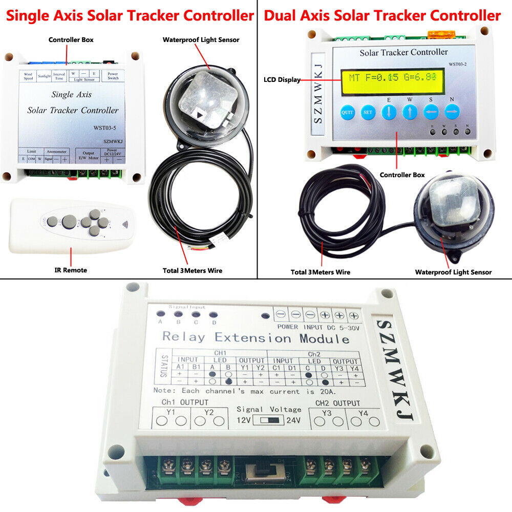 hight resolution of details about electronic single dual axis pv solar panel tracking sun track tracker controller