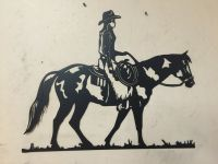 HorSe Cowgirl WESTERN METAL ART RANCH RUSTIC LODGE ...